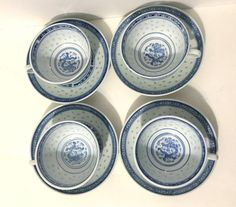 Set of 4 Vintage CHINESE Blue & White RICE GRAIN Dragon Pattern Cups & Saucers