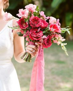 fuchsia, magenta, and coral colored blooms with greenery bouquet Pink Wedding Colors, Diy Wedding Flowers, Bridal Flowers, Flower Bouquet Wedding, Floral Wedding, Ribbon Wedding, Pink Bouquet, Wedding Ideas, Hawaii Wedding