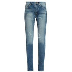 Saint Laurent Mid-rise distressed skinny jeans (€830) ❤ liked on Polyvore featuring jeans, denim, destructed skinny jeans, destroyed jeans, denim skinny jeans, distressed jeans and blue ripped jeans