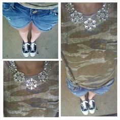 Camo t-shirt, jean shorts, Converse, bling statement necklace, summer outfit