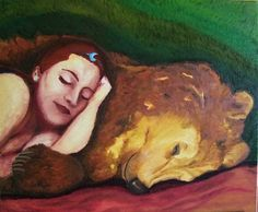 'déesse Artio dormant avec un ours' peinture à l'huile (Goddess Artio sleeping with bear, oil) by Alexandra Nereïev