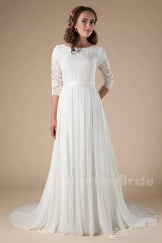2ec24f99ea72e Discount 2018 New Lace Chiffon Long Modest Wedding Dresses With Lace Sleeves  Informal Reception Lds Bridal