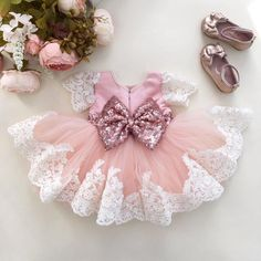 Rose Gold Party Dress, Rose Gold Sequins - Princess Julia Dress - Baby Shop Online