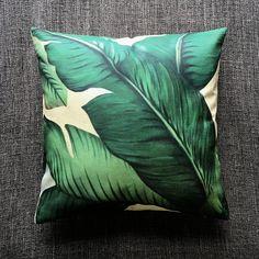 Tropical Palm Leaf Green Cushion Cover, Pillow Cover, Decorative Cushion, Throw Pillow, 45cm