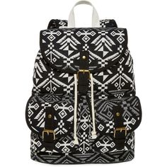 SM New York Aztec Print Cargo Backpack ($30) ❤ liked on Polyvore featuring bags, backpacks, backpack, accessories, strap bag, aztec print backpack, decorating bags, drawstring backpack and top handle bag