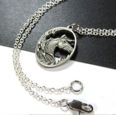 Horse Jewelry - Native American Style Horse Necklace - Silver Steel Chain and Clasp $23.00 USD