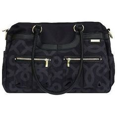 JJ Cole Satchel Baby Diaper Bag Black & Gold w/ Changing Pad & Stroller Straps