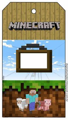"""Festa Aniversário Digital """"Minecraft"""" para Imprimir - Convites Digitais Simples                                                                                                                                                                                 Mais"""