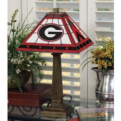Georgie Bulldogs Stained Glass Mission Style Table Lamp