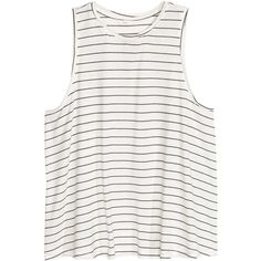 Jersey Top $9.99 (€9,02) ❤ liked on Polyvore featuring tops, blusas, h&m, striped jersey, stripe top, white jersey, white tops and striped top