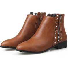 dd04a67fe0c Women Ankle Boots Rivet Pointed Toe Plus Size Zip Flat Heel Casual Booties  Shoes