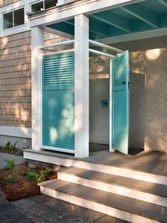 - HGTV Smart Home Garage Exterior Pictures on HGTV (outdoor shower on the side porch). An outdoor shower might be nice, coming in from the pool. Outdoor Baths, Outdoor Bathrooms, Outdoor Kitchens, House Of Turquoise, Outside Showers, Outdoor Showers, Outdoor Shower Enclosure, Outdoor Spaces, Outdoor Living