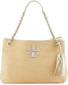 Tory Burch Thea Straw Slouchy Tote Bag, Natural