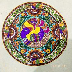 Items similar to Traditional Madhubani painting on Etsy Madhubani Paintings Peacock, Kalamkari Painting, Madhubani Art, Indian Paintings, Gond Painting, Watercolor Paintings, Traditional Paintings, Traditional Art, Ramayana Story