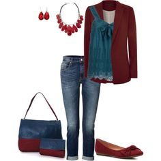 """""""Boyfriend Jeans Outfit"""" by penny-martin on Polyvore"""