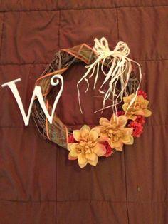 DIY fall wreath - spent less than $10 at hobby lobby & dollar tree!!