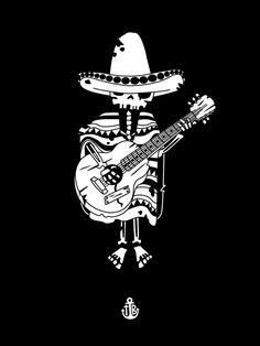 Guitar mariachi Art Print by To The Bones - X-Small Lettrage Chicano, Chicano Tattoos, Los Muertos Tattoo, Tattoos Realistic, Mexican Art Tattoos, Memes Arte, Skeleton Art, Skeleton Bones, Day Of The Dead Art