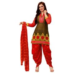 Fashionx Patiala Red heavy embroderied cotton unstitched dress material