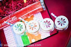 Cute drink glasses via Kara's Party Ideas karaspartyideas.com #daisy #cut #mason #jar #party #drink #idea #ideas #drinks #straws #paper