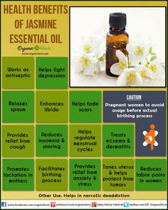 Health Benefits of Jasmine Essential Oil | Organic Facts: Health benefits of jasmine essential oil can be attributed to its properties as an antidepressant, antiseptic, aphrodisiac, antispasmodic, cicatrisant, expectorant, galactogogue, emmenagogue, parturient, sedative and uterine substance.