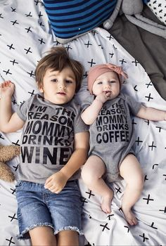the Reason Mommy Drinks Coffee Drinks Wine Funny Sibling Shirts Cute - Funny . I'm the Reason Mommy Drinks Coffee Drinks Wine Funny Sibling Shirts Cute - Funny .,I'm the Reason Mommy Drinks Coffee Drinks Wine Funny Sibling Shirts Cute - Funny . Twin Outfits, Baby Boy Outfits, Kids Outfits, Matching Outfits, Siblings Funny, Sibling Shirts, Family Shirts, Momma Shirts, Sibling Poses