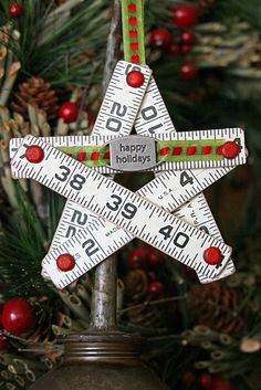 Christmas Star Ornament created from reclaimed folding rulers ~ ♥ Star Ornament, Diy Christmas Ornaments, Christmas Projects, Holiday Crafts, Holiday Fun, Christmas Decorations, Holiday Decorating, Holiday Quote, Thanksgiving Holiday