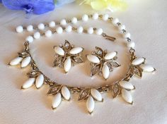 Vintage Bogoff White Glass Cabochon and by JanesVintageJewels, $75.00