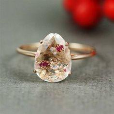 Handmade Pink Gold White Quartz, Ruby & White CZ Oval Ring