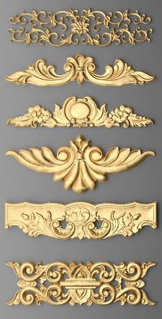 icu ~ cartouches set in 2019 Diy Furniture Appliques, Wood Appliques, Deco Baroque, Baroque Decor, Bed Design, Door Design, Wooden Panel Design, Motif Arabesque, Molduras Vintage