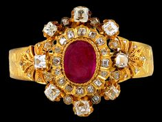 Exquisite Over-Sized 18K Engraved Yellow Gold, Diamond & Ruby Bangle, ca. 1880's.
