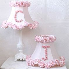 Love these Monogram Lamp Shades with  pink rose detail!