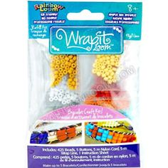 Contains supplies to make up to 5 more beaded bracelets with the new Wrap It Loom by Rainbow Loom! (Sold separately.) http://www.mastermindtoys.com/Rainbow-Loom-Wrap-It-Loom-Refill-Pack.aspx