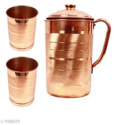 Water Bottles Classy Copper Kitchen Utilitiy  *Material* Copper  *Capacity* Water Jug -1.4 Ltr, 2 Glass- 300 ml  *Description* It Has 1 Piece Of Jug & 2 Pieces Of Glass  *Sizes Available* Free Size *   Catalog Rating: ★4 (145)  Catalog Name: Apex Copper Bottles & Jugs Vol 2 CatalogID_123355 C130-SC1644 Code: 176-1022213-