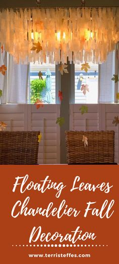 A beautiful and moving way to bring the fall indoors. #floatingleaves #falldecor #chandelier #fallchandelier