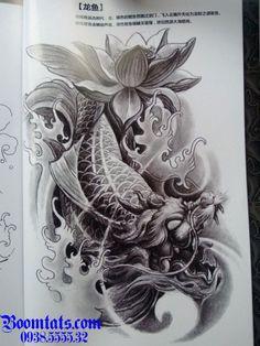 Dragon Koi Tattoo Design, Koi Dragon Tattoo, Japanese Dragon Tattoos, Koi Fish Tattoo Forearm, Forearm Tattoos, Body Art Tattoos, Tattoo Drawings, Dragon Koi Fish, Scenery Tattoo