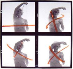 Marilyn Monroe last photoshoot 1962 - Contact-sheet (red cross by Marilyn Monroe) - Photos : Bert Stern