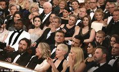Hollywood royalty Mel Gibson, centre, Sting and Trudie Styler, top right, Matt Damon, second row, and at the front Michelle Williams and brothers Casey and Ben Affleck