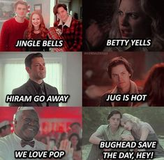 Omg gosh so I love this but... I was singing it out loud and I seriously messed up. I went like this... Jingle Bells, Betty Yells, Hiram Go Away, Jug Is Hot, We All Love Pot. Haha I can't believe I said that. Riverdale Funny, Riverdale Memes, River Dale, Jingle Bells, Love Is All, Zodiac, Singing, Amen, Tv Shows