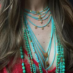 NOW THAT IS A SHAKTI STACK! Turquoise for days   #iLoveShakti #shaktifinejewelry #turquoise  www.iloveshakti.com