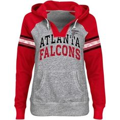 4baaace5c Atlanta Falcons Ladies Huddle V-Neck Hoodie - Ash Red