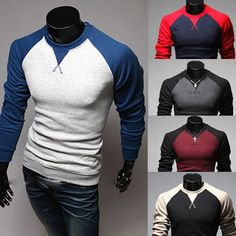 New-Mens-Fashion-Casual-Slim-Fit-Crew-neck-Long-Sleeve-Tops-Tee-T-shirt-5-Color