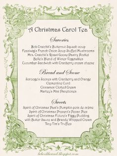 A Christmas Carol Tea Party! What a fun idea for Christmas time! from Be Book Bound Christmas Tea Party, Christmas Carol, Christmas Time, Family Christmas, Winter Tea Party, Christmas Baking, White Christmas, Christmas Decor, Tea Party Menu