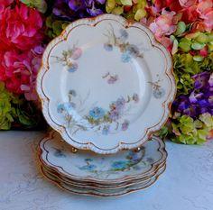 4 Beautiful Antique Limoges Porcelain Dinner Plates ~ Floral ~ Double Gold #HavilandLimoges