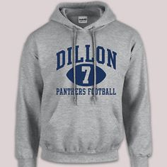 Dillon Panthers Football Number 7 Friday Night Lights Hoodie Sports Grey