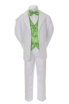 Unotux 7pcs Boys White Suit Tuxedo with Satin Lime Green Bow Tie Vest Set (S-20) - https://fashionshop101.com/product/unotux-7pcs-boys-white-suit-tuxedo-with-satin-lime-green-bow-tie-vest-set-s-20/