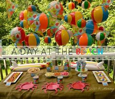 10 Awesome Outdoor Birthday Party Ideas for Kids of All Ages : Parentables Beach Ball Party, Luau Party, Beach Cupcakes, Hawaiian Party Decorations, Hawaiian Parties, Hawaiian Luau, Outdoor Birthday, Summer Parties, Birthday Parties