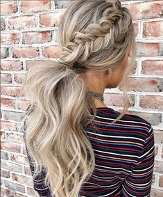 These hairstyles are lovely braid hairstyle , gorgeous hair color, braided ponytails ,messy braids hairstyle haircolor braids hair bun cute - braids Braided Bun Hairstyles, Casual Hairstyles, Hairstyles Haircuts, Ponytail Hairstyles For Prom, Ponytail For Prom, Ponytail Wedding Hair, Braided Hairstyles For Long Hair, Bridesmaid Hair Ponytail, Braided Prom Hair