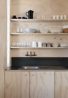 Trend Alert: 10 DIY Faucets Made from Plumbing Parts Plywood kitchen in Scarborough South-Africa beach cabin designed y Beatty Vermeiren-architects Kitchen And Bath, New Kitchen, Kitchen Dining, Kitchen Decor, Compact Kitchen, Kitchen Ideas, Kitchen Black, Kitchen Designs, Plywood Kitchen
