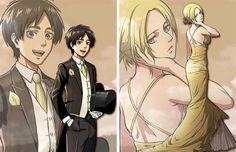 All Dressed Up | Eren Jaeger / Jäger / Yeager x Annie Leonhardt / Leonhart | EreAnnie / ErenAnnie / EreAnni / Erennie / Erenni / EreAni | Titan Shifters | Attack on Titan / Shingeki no Kyojin AoT / SnK | Anime manga couple official anime art formal wear dance prom | OTP