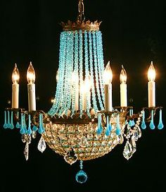 ANTIQUE EUROPEAN FRENCH BLUE OPALINE (TURQUOISE) CRYSTAL CHANDELIER